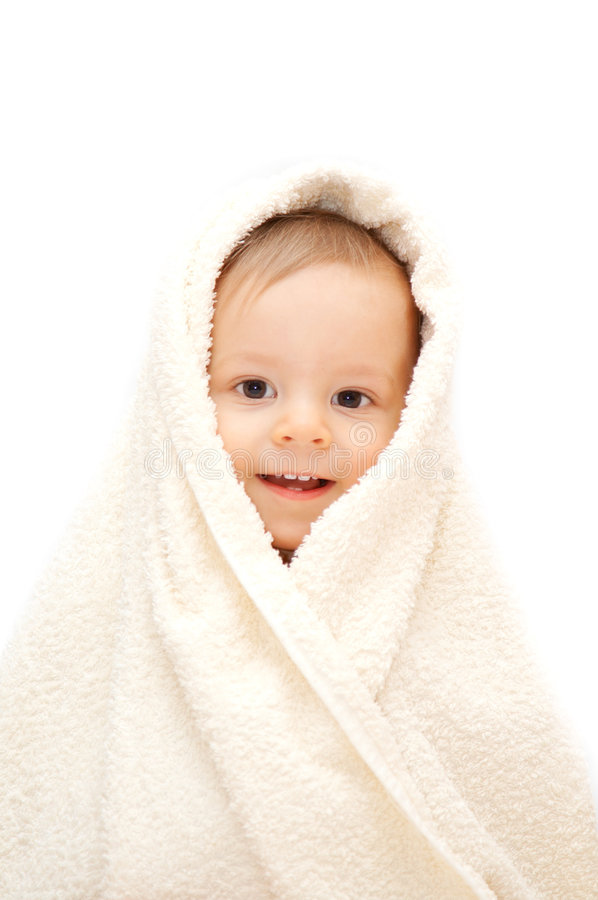Download Smiling baby in towel stock image. Image of blanket, baby - 6975773