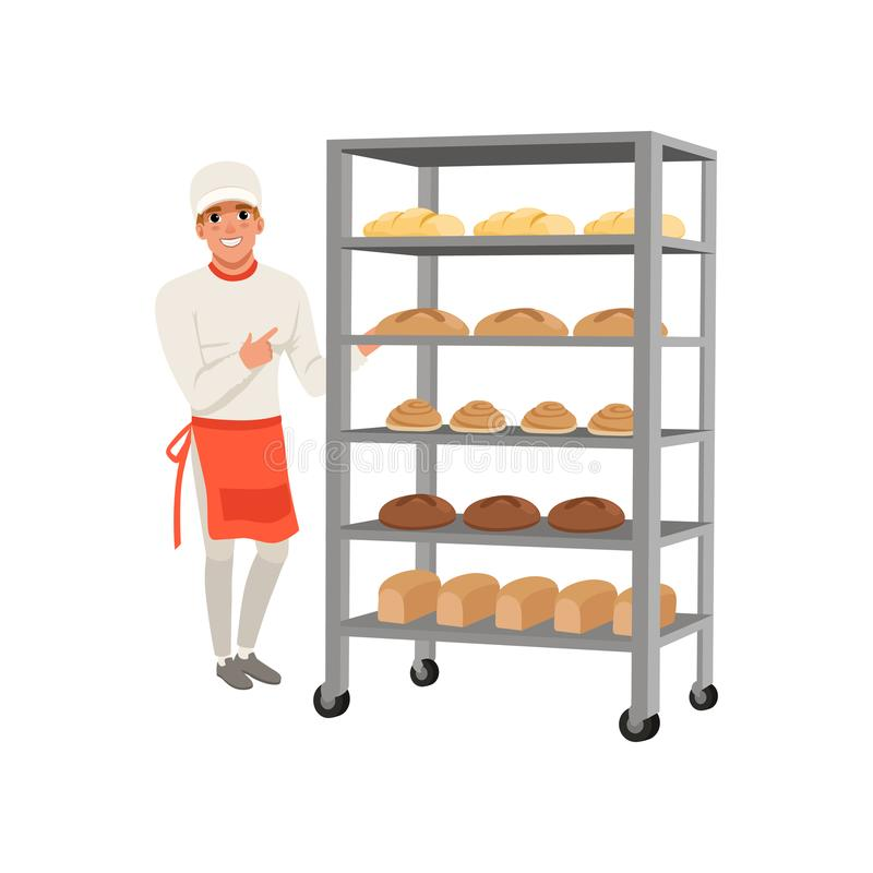 Smiling baker character standing near bread rack with freshly baked bread vector Illustration on a white background royalty free illustration