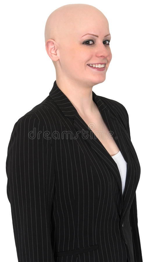 Smiling Bald Business Woman, Isolated. Smiling businesswoman who is all business with a bald head. Can be used for finance, sales, and marketing. Isolated on royalty free stock photos