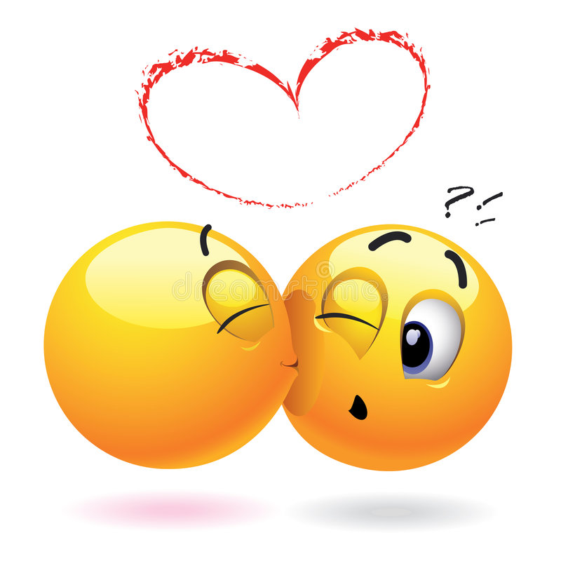 Smiling balls. Smiling ball kissing another who is surprised royalty free illustration