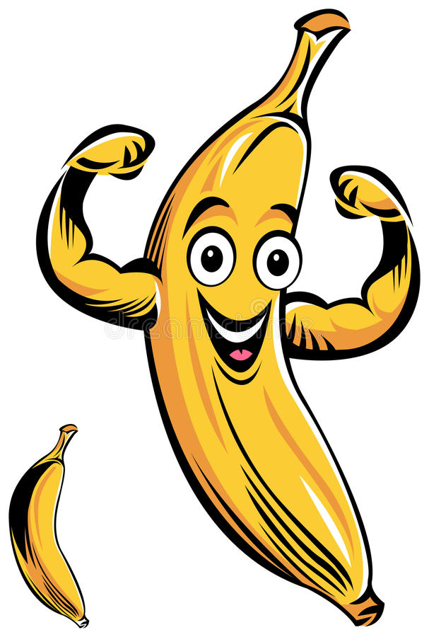 Smiling Banana cartoon. Isolated line art smiling Banana cartoon stock illustration