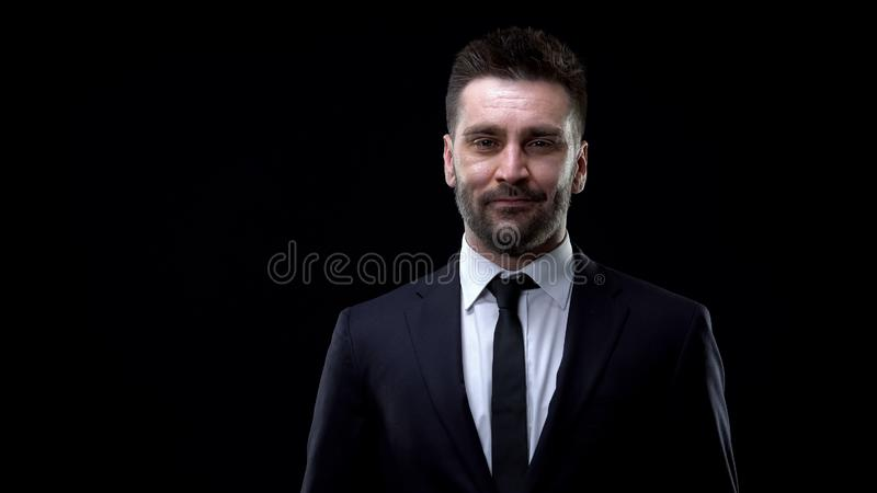 Smiling bank employee looking camera, professional lawyer, business career royalty free stock photo