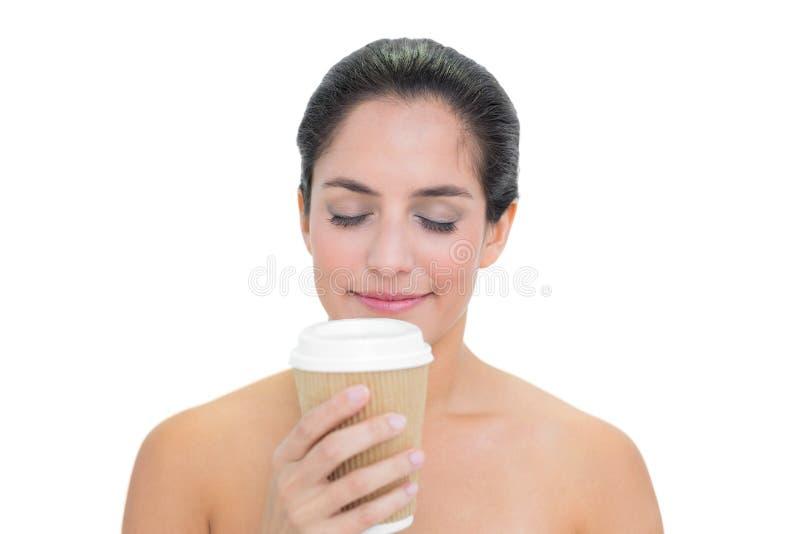 Download Smiling Bare Brunette Smelling Disposable Cup Stock Image - Image: 34397071