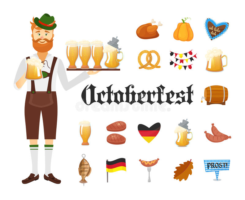 Smiling Bavarian man with red beard and moustache, dressed in traditional costume and hat with beer glasses and set of. Oktoberfest icons. Traditional symbols stock illustration
