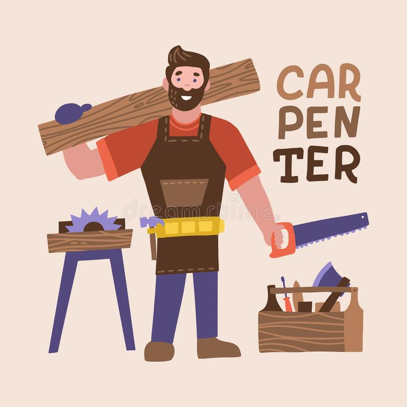 Smiling bearded carpenter holding hand saw and wooden board. Full length of young cheerful man carpenter chacacter with carpentry. Tools. Vector flat vector illustration