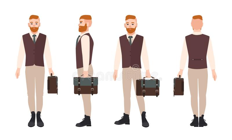Smiling bearded hipster dressed in formal office clothes and holding briefcase. Flat male cartoon character isolated on stock illustration
