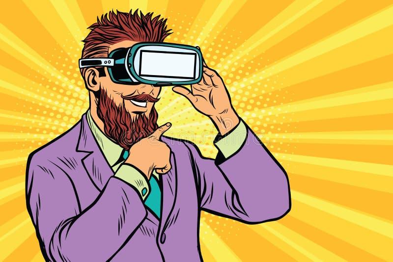 Smiling bearded hipsters in VR glasses. Pop art retro vector illustration vector illustration