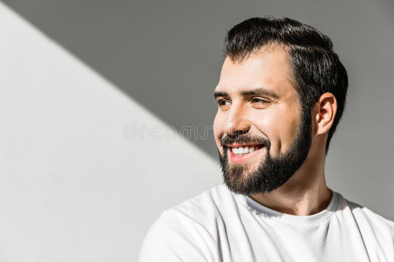 Smiling bearded man stock images