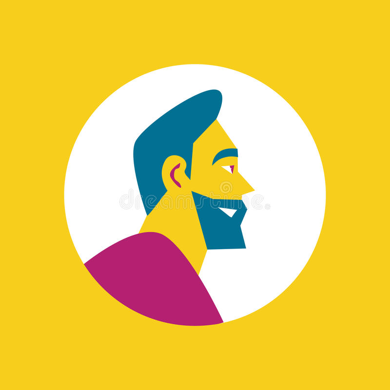 Smiling bearded man round avatar icon. Side view of smiling bearded man character in purple sweater. Round avatar icon in flat design on yellow background vector illustration
