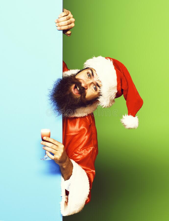 Smiling bearded santa claus man royalty free stock images