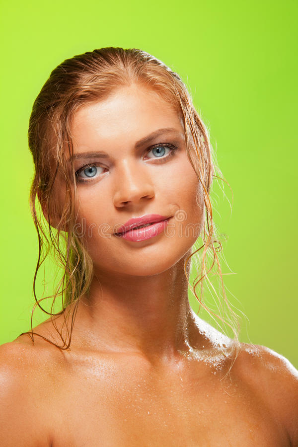 Smiling beautiful blonde woman stock photography