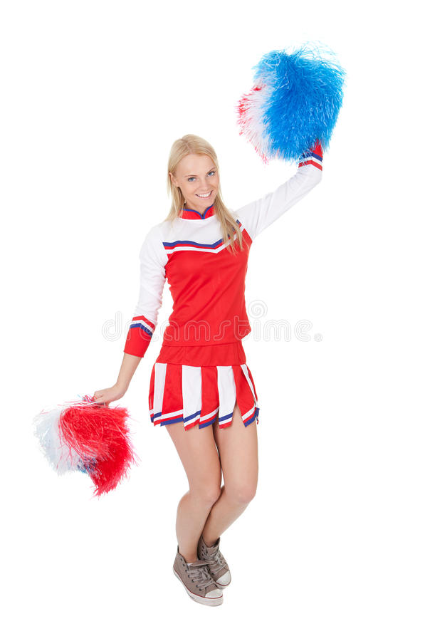 Download Smiling Beautiful Cheerleader With Pompoms. Stock Photo - Image of athlete, background: 23255694