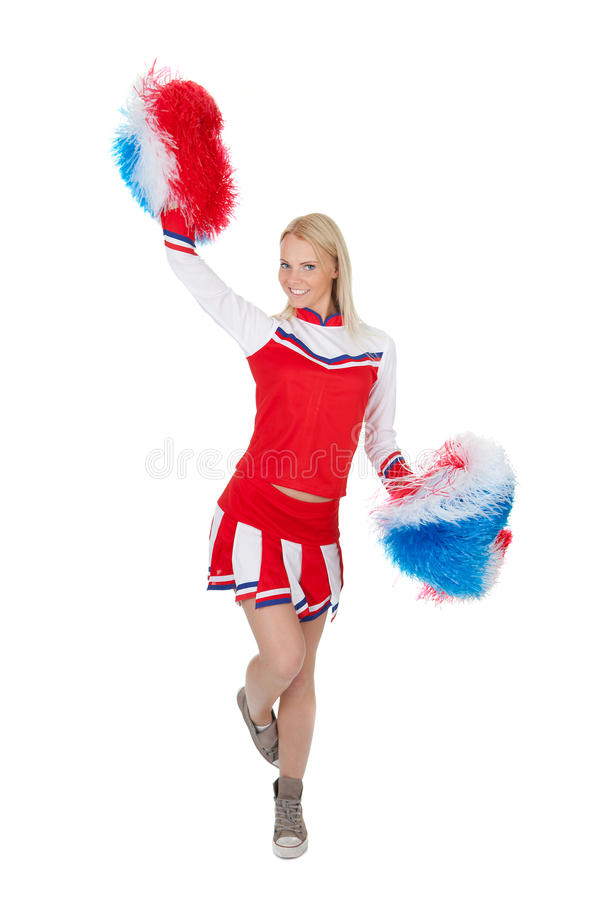 Download Smiling Beautiful Cheerleader With Pompoms. Stock Images - Image: 23255704