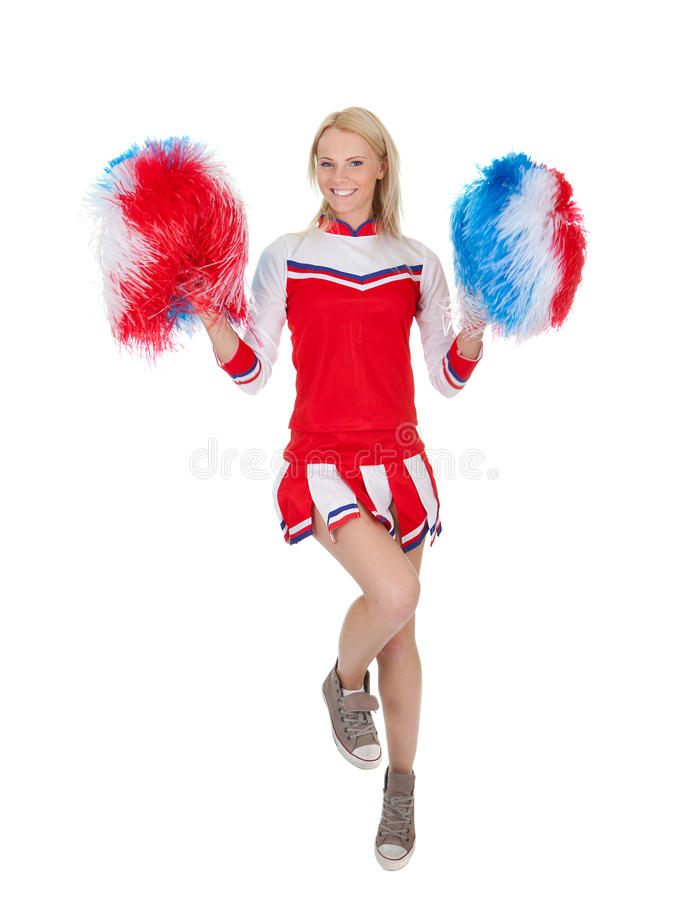 Download Smiling Beautiful Cheerleader With Pompoms. Stock Photo - Image of female, portrait: 23255728