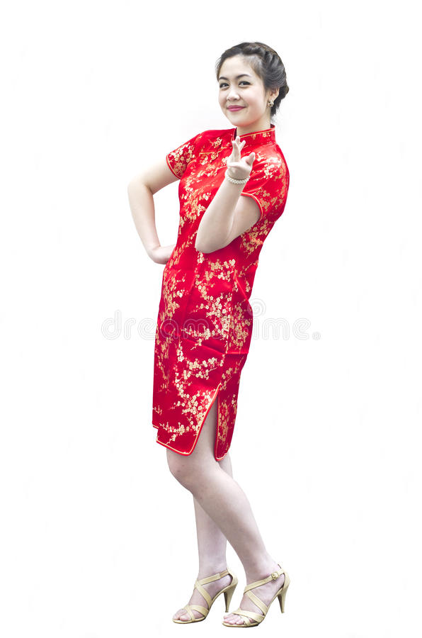 Smiling beautiful chinese young woman gesturing royalty free stock photo