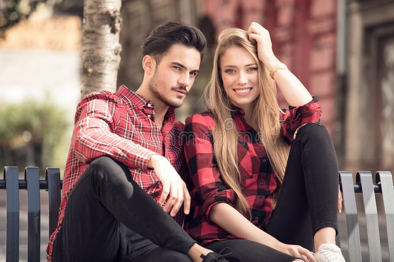 Smiling beautiful couple dating outdoors. stock image