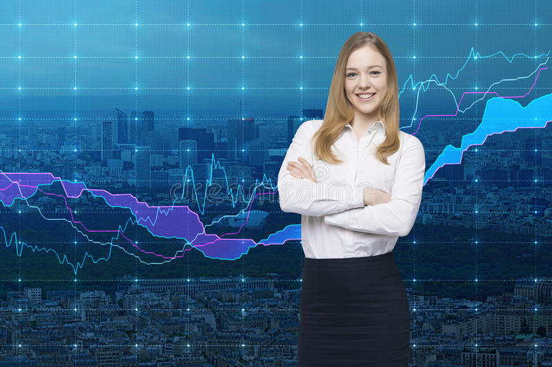 A smiling beautiful trader and forex chart. A concept of prosperous portfolio manager. New York City on the background stock images