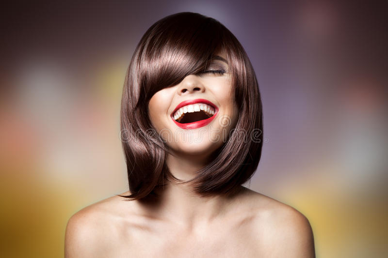 Smiling Beautiful Woman With Brown Short Hair. Haircut. Hairstyle. Fringe. Professional Makeup stock image