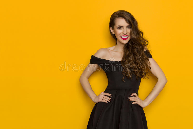 Smiling Beautiful Woman In Elegant Black Cocktail Dress royalty free stock photography