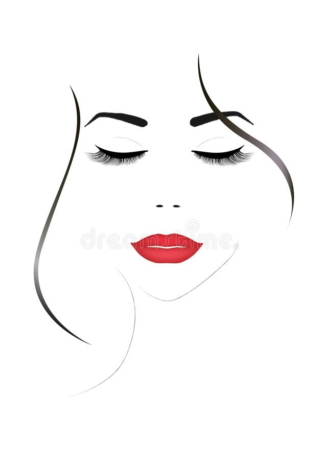 Smiling beautiful woman face with closed eyes and red lips, vertical vector vector illustration