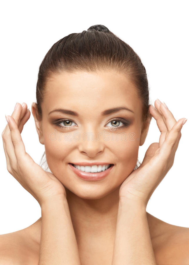 Smiling beautiful woman with perfect skin royalty free stock photography