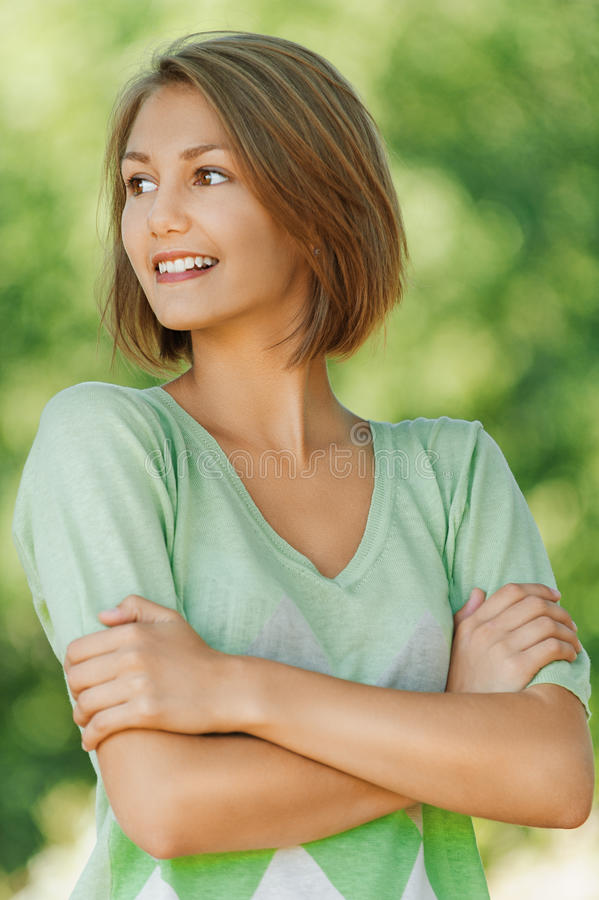 Download Smiling Beautiful Young Woman Close Stock Image - Image: 27053803