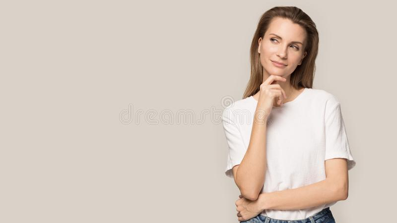 Happy beautiful woman smile touching clean face skin royalty free stock photos