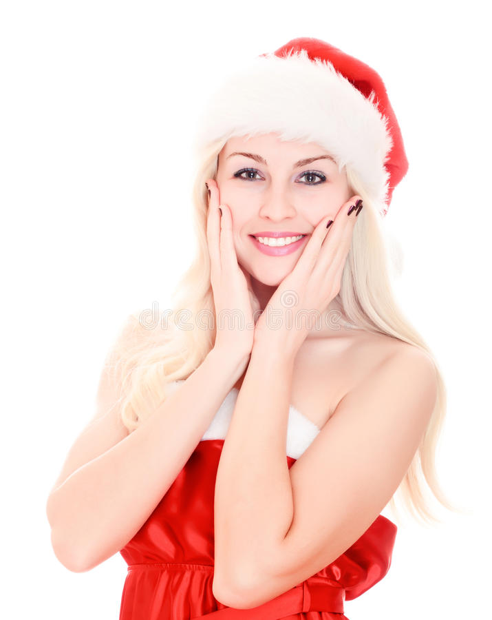 Download Smiling Beautiful Young Woman Wearing Santa Hat. Stock Image - Image of holiday, december: 17268869
