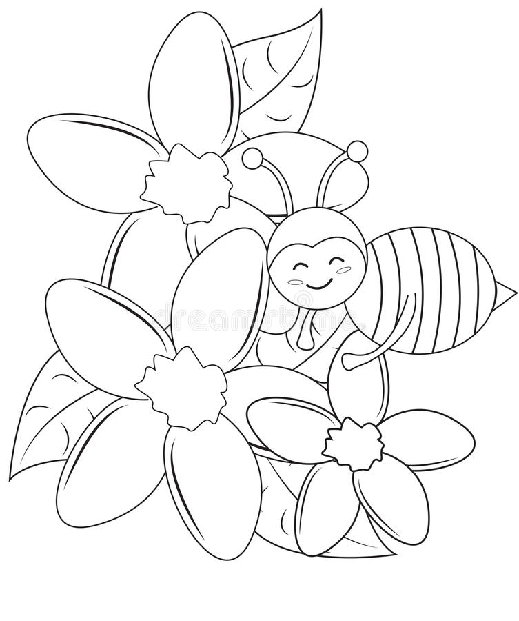 Download Smiling Bee With Flowers Coloring Page Stock Illustration