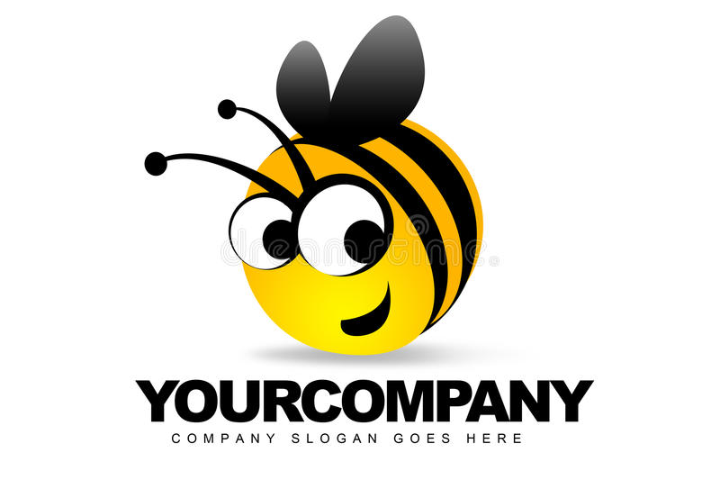 Smiling Bee Logo. An illustration of a logo representing a bee smiling