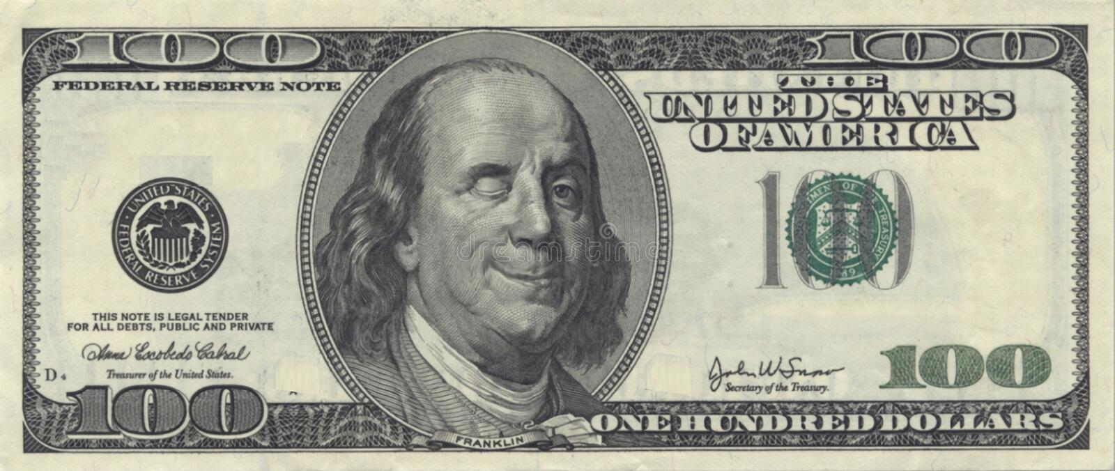 Smiling Ben Franklin with Wink