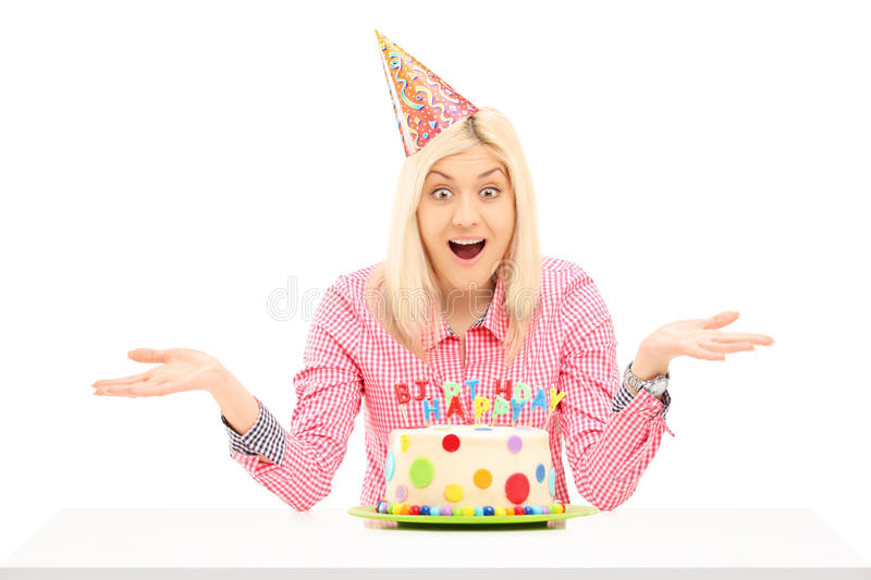 Download Smiling Birthday Female Wearing Party Hat And Gesturing Stock Image - Image: 30247243