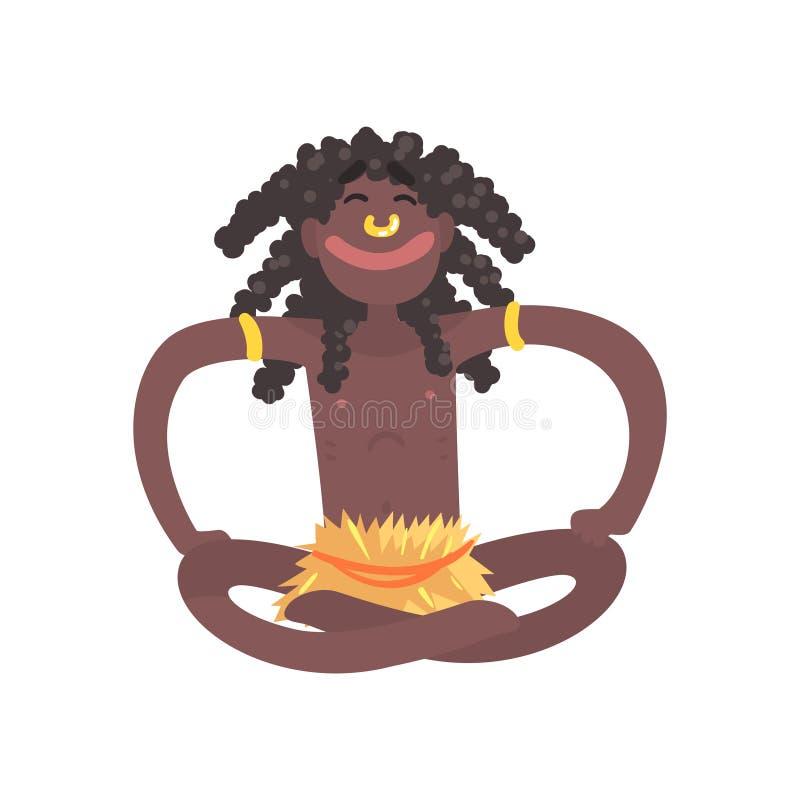 Smiling black skinned man aborigine sitting with legs crossed. Indigenous peoples of African or Australian tribe. Dressed in traditional hula skirt, dreadlocks vector illustration