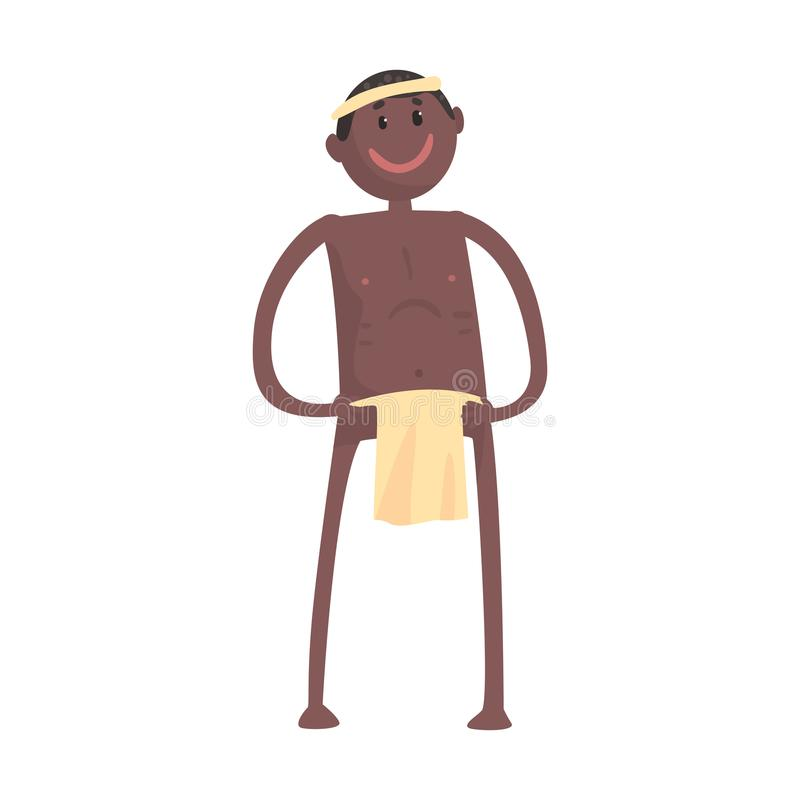 Smiling black skinned man aborigine stands with arms akimbo. Indigenous peoples of African or Australian tribe. Dressed in traditional clothes. artoon flat royalty free illustration