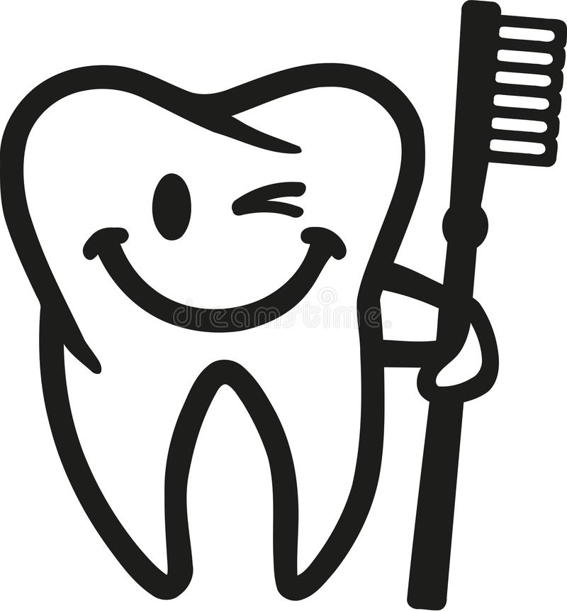 Smiling blinking tooth with toothbrush vector illustration