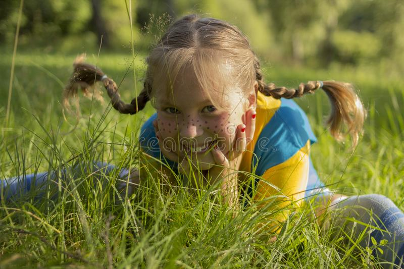 The photo. Girl with funny pigtails, sitting in the grass. royalty free stock photo