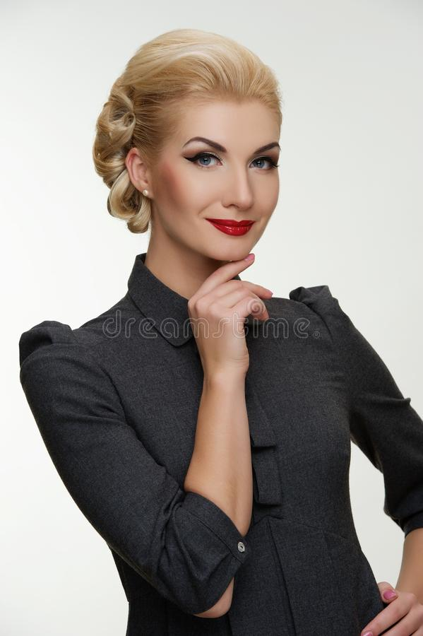 Download Smiling Blond Woman With A Retro Make-up Stock Photos - Image: 25165893