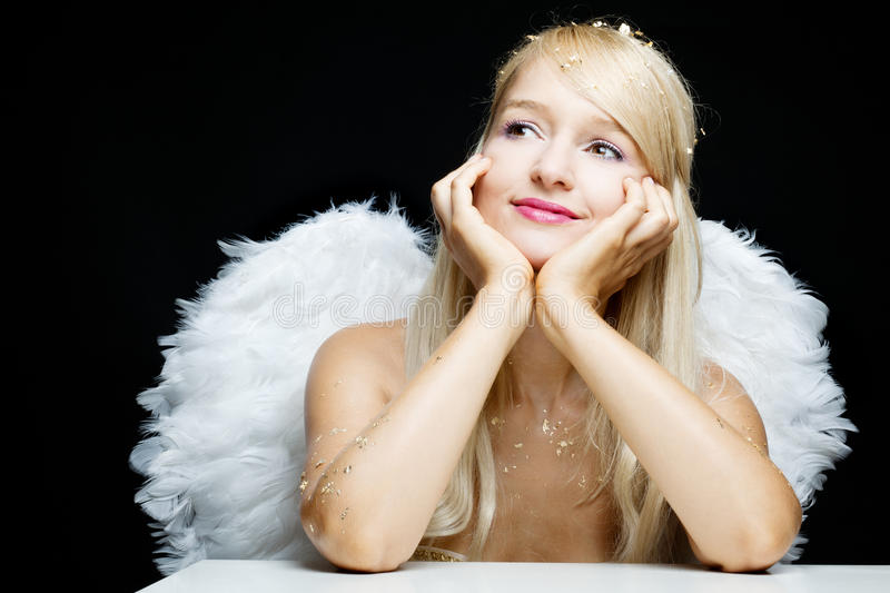 Smiling Blonde Angel Stock Images