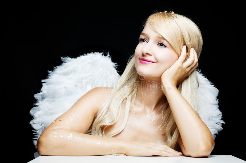 Smiling blonde Angel royalty free stock photography