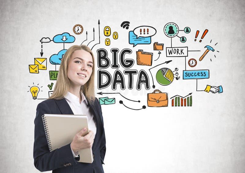 Smiling blonde businesswoman, notebook, big data royalty free stock photo