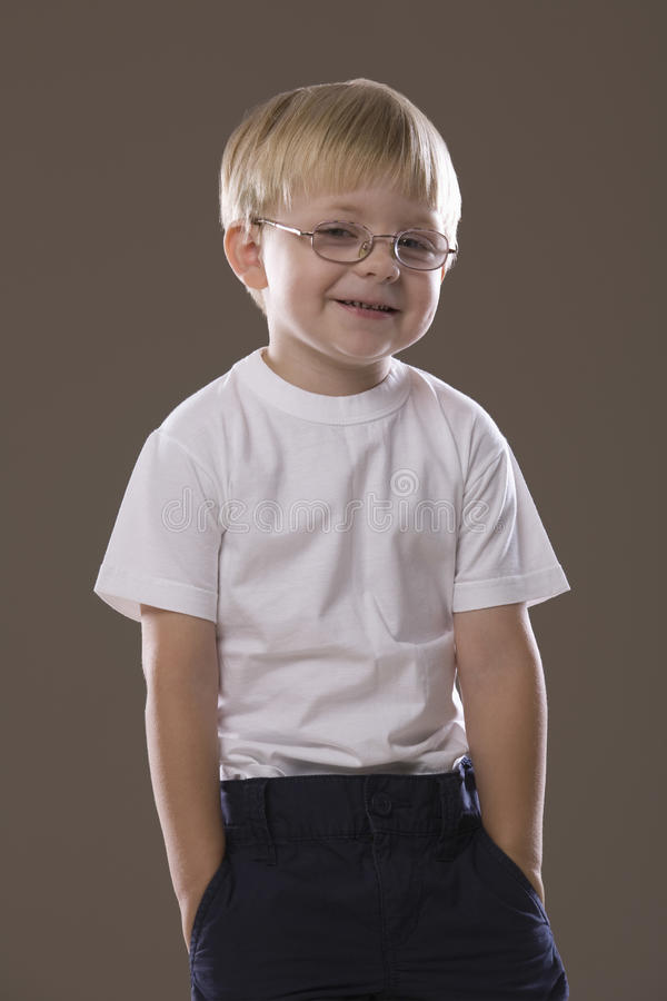 Smiling Blonde Haired Boy In Glasses