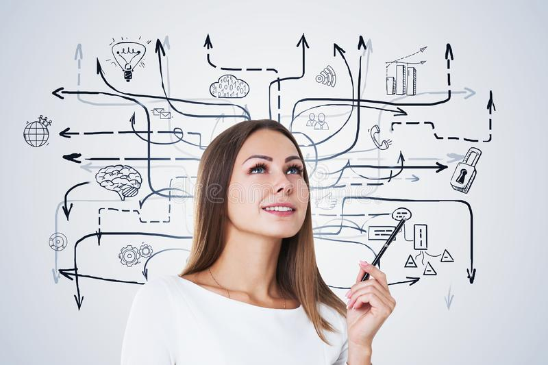 Smiling blonde woman, business plan. Smiling blonde businesswoman with pen standing near white wall with business plan sketch drawn on it. Concept of business stock photo