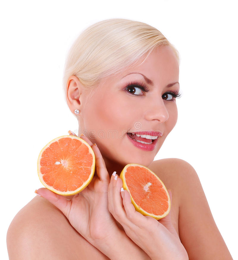 Download Smiling Blonde Young Woman With Orange Fruits Isolated Stock Photo - Image: 28756686
