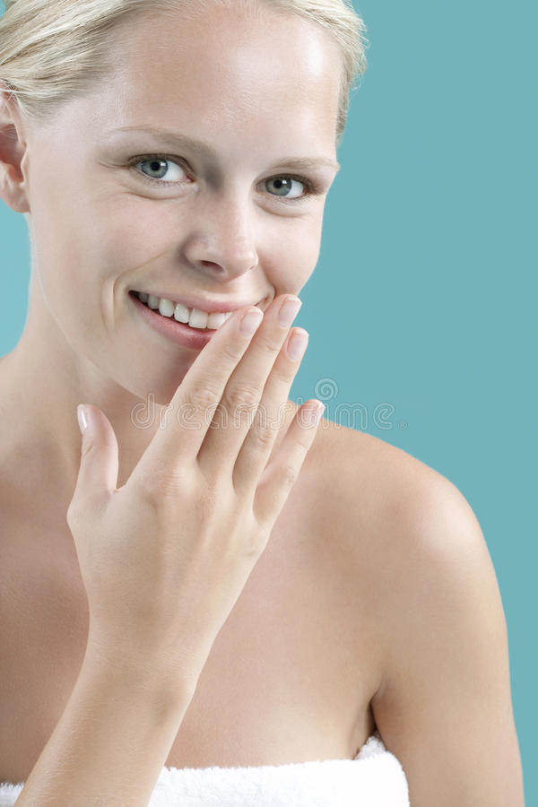 Download Smiling on Blue Background stock photo. Image of blond - 25326078