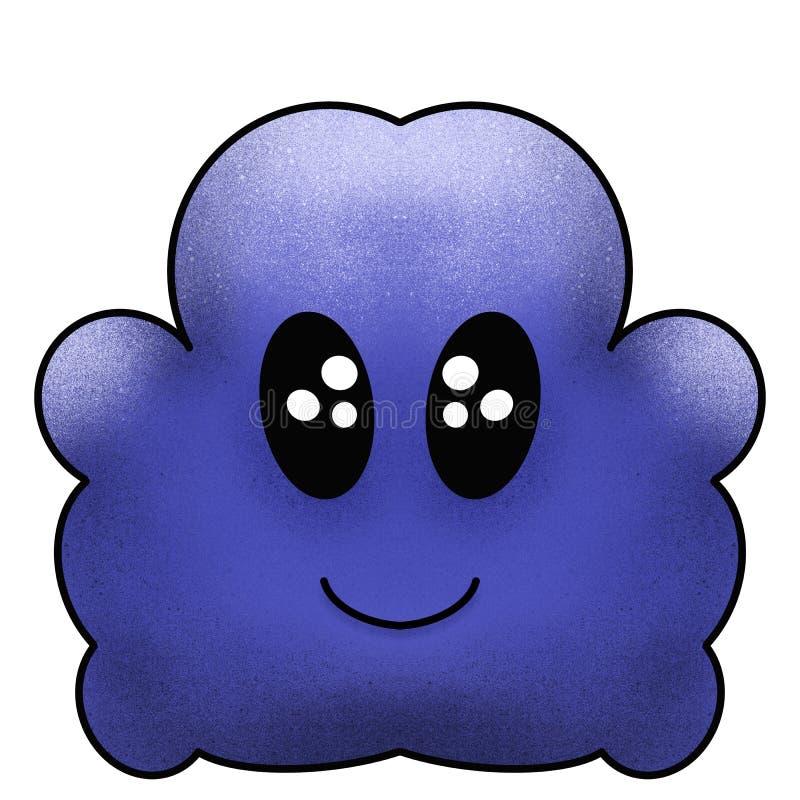 Smiling blue Doodle monster illustration with cartoon faces. Fantasy emoticons vector illustration