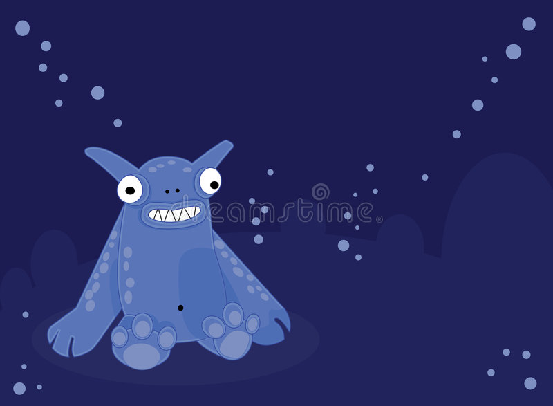 Smiling Blue Monster Royalty Free Stock Image