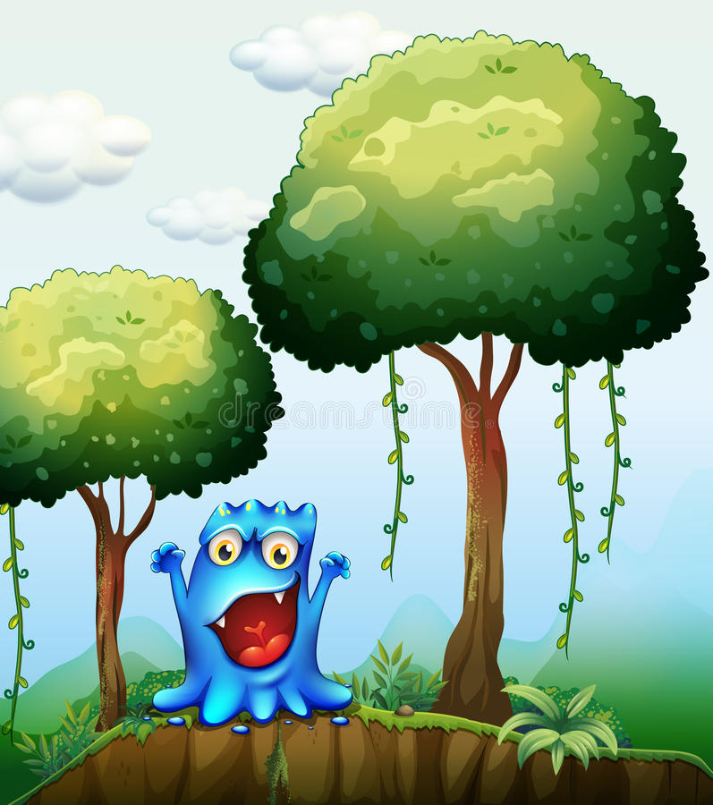 A smiling blue monster at the forest near the cliff