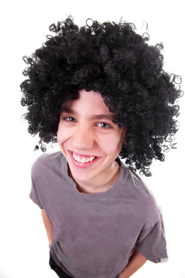 Download Smiling Boy With Black Wig Royalty Free Stock Image - Image: 18915036