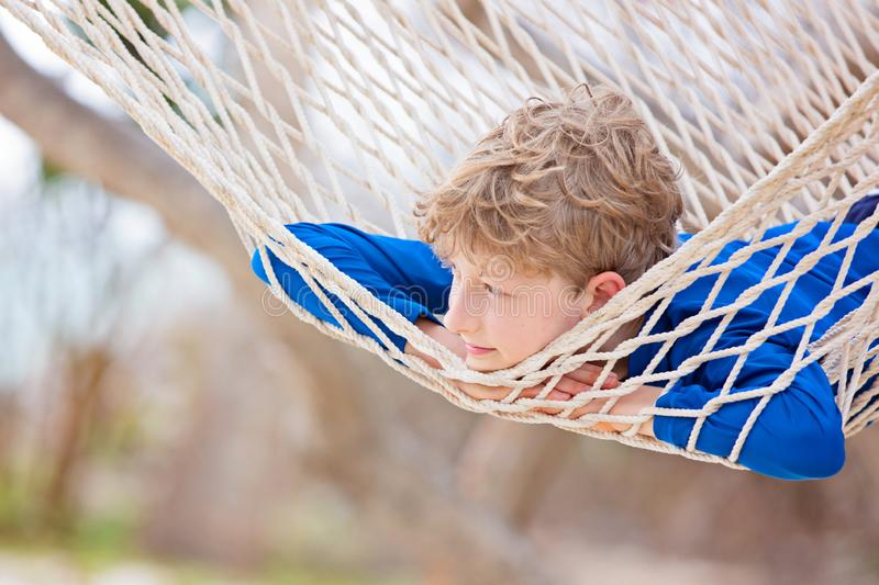 Kid at tropical vacation royalty free stock photos