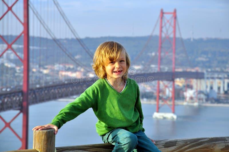 Download Smiling boy at the bridge stock photo. Image of gate - 36463490
